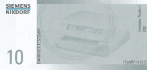 10 zł 1994 banknot TESTOWY SIEMENS, b. rzadki