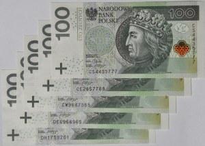 5 szt. 100 złotych 2012, serie CE, CS, CW, DE, DH