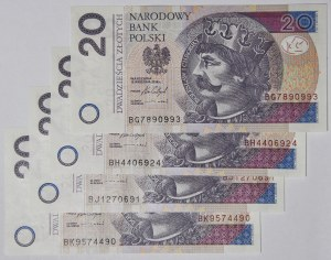 4 szt. 20 złotych 2016, serie BG, BH, BJ, BK