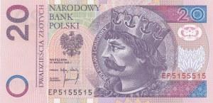 20 złotych 1994, druk TDLR Londyn, EP5155515, numer RADAROWY złożony tylko z 1 i 5