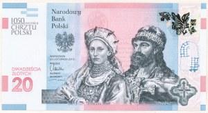 20 złotych 2015, 1050 Rocznica Chrztu Polski, AB0025874, dosyć niski numer
