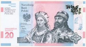 20 złotych 2015, 1050 Rocznica Chrztu Polski, AB0002749, niski numer