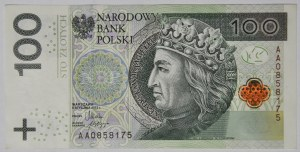 100 złotych 2012, AA 0858175, pierwsza seria