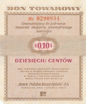Pewex, 10 centów 1960 bez klauzuli - ser. Bd
