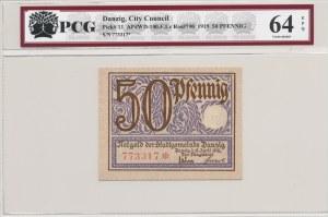 Gdańsk, 50 fenigów 1919, druk fioletowy