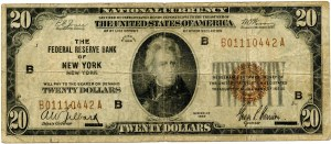USA, 20 dollars 1929, National Currency, Federal Reserve, New York