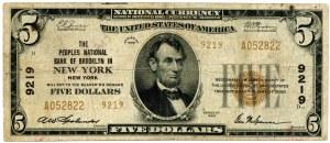 USA, 5 dollars 1929, National Currency, Brooklyn, New York, #9219