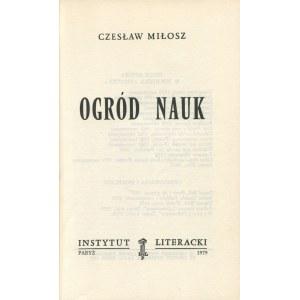 MIŁOSZ Czesław - Ogród nauk [wydanie pierwsze Paryż 1979]