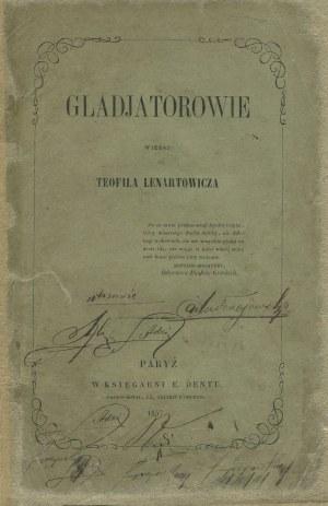 LENARTOWICZ Teofil - Gladjatorowie. Wiersz [wydanie pierwsze Paryż 1857]