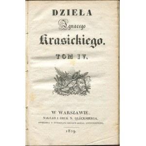 KRASICKI Ignacy - Dzieła. Tom IV. Pan Podstoli [1829]