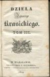 KRASICKI Ignacy - Dzieła. Tom III. O rymotwórstwie i rymotwórcach [1829]