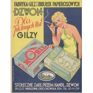 reklama Fabryka Gilz i Bibułek Papierosowych Dzwon - Gilzy dla pięknych ust