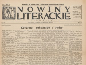 Nowiny literackie. Numer 37 z 30 listopada 1947 [Bobkowski, Leśmian, Hemingway]