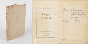 TUWIM Julian - Wybór wierszy [Nowy Jork 1942] [AUTOGRAF I DEDYKACJA DLA JERZEGO POMIANOWSKIEGO]