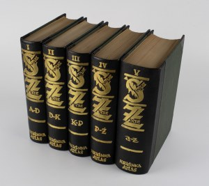 Świat i życie. Zarys encyklopedyczny współczesnej wiedzy i kultury. Tom I-V [oprawa wg projektu Bonawentury Lenarta]