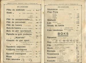 Cennik letni. Składnica Sportowa Stadjon. Łódź 1933/1934