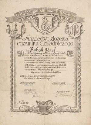 Świadectwo złożenia egzaminu czeladniczego [ślusarskiego] z 1932 roku [Izba Rzemieślnicza w Warszawie]