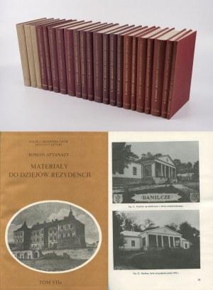 AFTANAZY Roman - Materiały do dziejów rezydencji [komplet 11 tomów] [AUTOGRAF I DEDYKACJA]