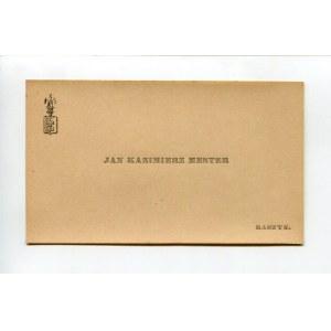 Karta wizytowa Jana Kazimierza Mestera (1887-1947)