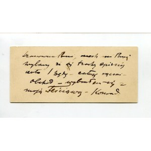 Karta wizytowa Konrada Krzyżanowskiego (1872-1922) [DEDYKACJA]