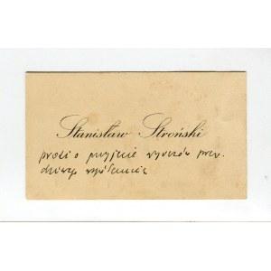 Karta wizytowa Stanisława Strońskiego (1882-1955) [DEDYKACJA]