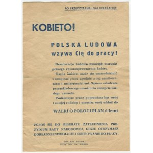 druk ulotny Kobieto! Polska Ludowa wzywa Cię do pracy! [1952]