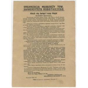 druk ulotny Niech się święci 1-szy Maja! [1929] [Organizacja Młodzieży Tow. Uniwersytetu Robotniczego]