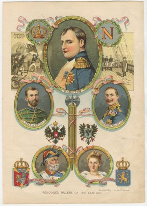 chromolitografia Renowned rulers of the century [1900] [Napoleon, Mikołaj II, Wilhelm II, Oskar II, Wilhelmina]