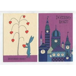 BUTENKO Bohdan - Zestaw 9 pocztówek świątecznych. Nowy Rok [1962]