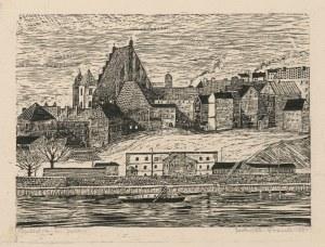 grafika FRONK Jadwiga - Warszawa. Katedra św. Jana [drzeworyt 1957]