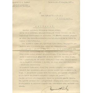 [sprawa gen. Włodzimierza Zagórskiego] Odręcznie podpisane meldunki mjr. Lucjana Miładowskiego i kpt. Zygmunta Wendy [9.VIII.1927]