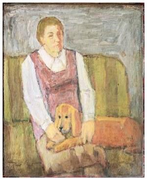 Maksymilian Stratanowski, Portret kobiety z psem, XX w.