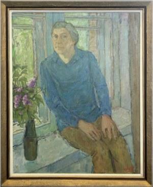 Maksymilian Stratanowski, Portret kobiety z wazonem bzów, XX w.