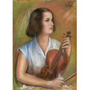 Józef KIDOŃ (1890 - 1968), Portret skrzypaczki Jolanty