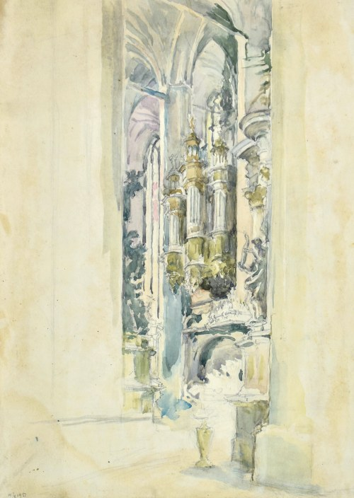 Józef PIENIĄŻEK (1888-1953), Wnętrze kościoła z organami, 1951