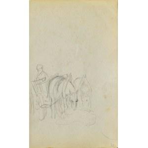 Jacek MALCZEWSKI (1854-1929), Para koni w zaprzęgu na popasie ukazanych z prawego trzy-czwarte