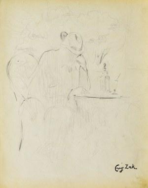 Eugeniusz ZAK (1887-1926), Mężczyzna siedzący przy stoliku kawiarnianym (Pont-Aven?)