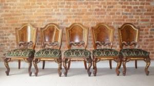 pięć krzeseł neobarokowych Wiedeń
