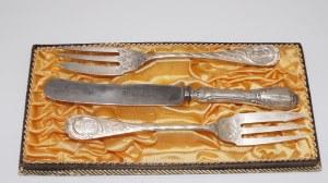 dwa widelce z nożem, srebro 800