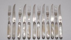 6 nożyków 6 widelcy, srebro z macicą perłową, Francja