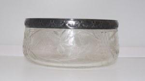 szklana miska okuwana srebrną opaską