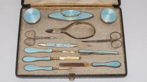 przybornik kosmetyczny, srebro złocone i emaliowane, Francja
