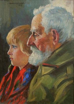 Szczepan Andrzejewski (1892-1950), Weteran z wnuczką(1929)