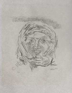 Oskar Kokoschka (1886-1980), Apulia. Antyczny medalion – Kobieta w chuście (1963)