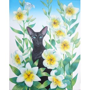 Svitlana Ulka (ur. 1987), Kot orientalny w liliach, 2021