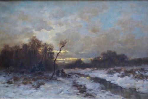 Désiré THOMASSIN [1858 - 1933], Pejzaż zimowy z postaciami w tle
