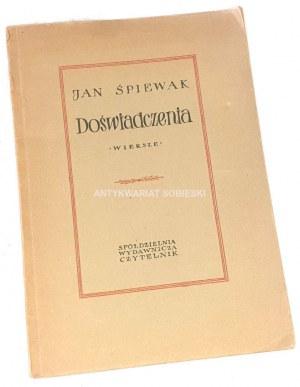ŚPIEWAK- DOŚWIADCZENIA wyd. 1. Dedykacja Autora dla Wandy Karczewskiej.