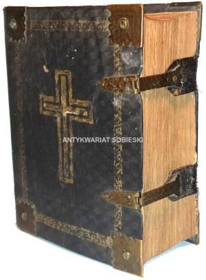 DAMBROWSKI- KAZANIA ALBO WYKŁADY PORZĄDNE wyd. 1785r. STARODRUK rycina z podobizną autora SKÓRA NA DESCE, OKUCIA