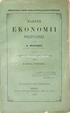 BLANQUI- ZARYSY EKONOMII POLITYCZNEJ wyd. 1865