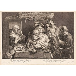 Jacob Jordaens (1593-1678), Schelte Adamsz Bolswert (1586 - 1659), Uczta, As the Old Sang, So Pipe the Young, 1638 - 1659